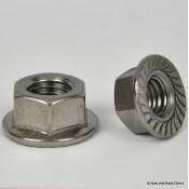 Flange Serrated Self-Locking Nuts, Metric, Stainless Steel